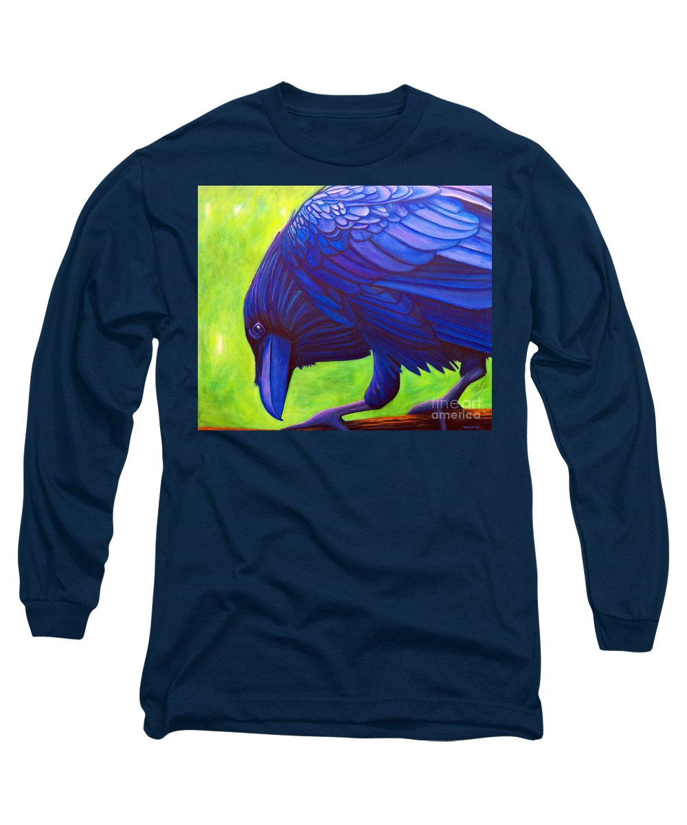 Raven Long Sleeve T-Shirt featuring the painting The Witness by Brian Commerford