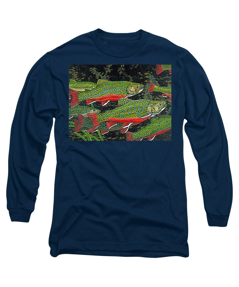 Art Long Sleeve T-Shirt featuring the painting Trout Art Brook Trout Fish Artwork Giclee Wildlife Underwater by Baslee Troutman