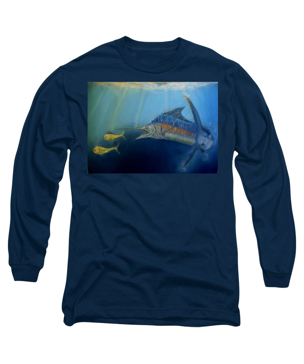 Marine Wildlife Long Sleeve T-Shirt featuring the pastel Two For Lunch by Ceci Watson