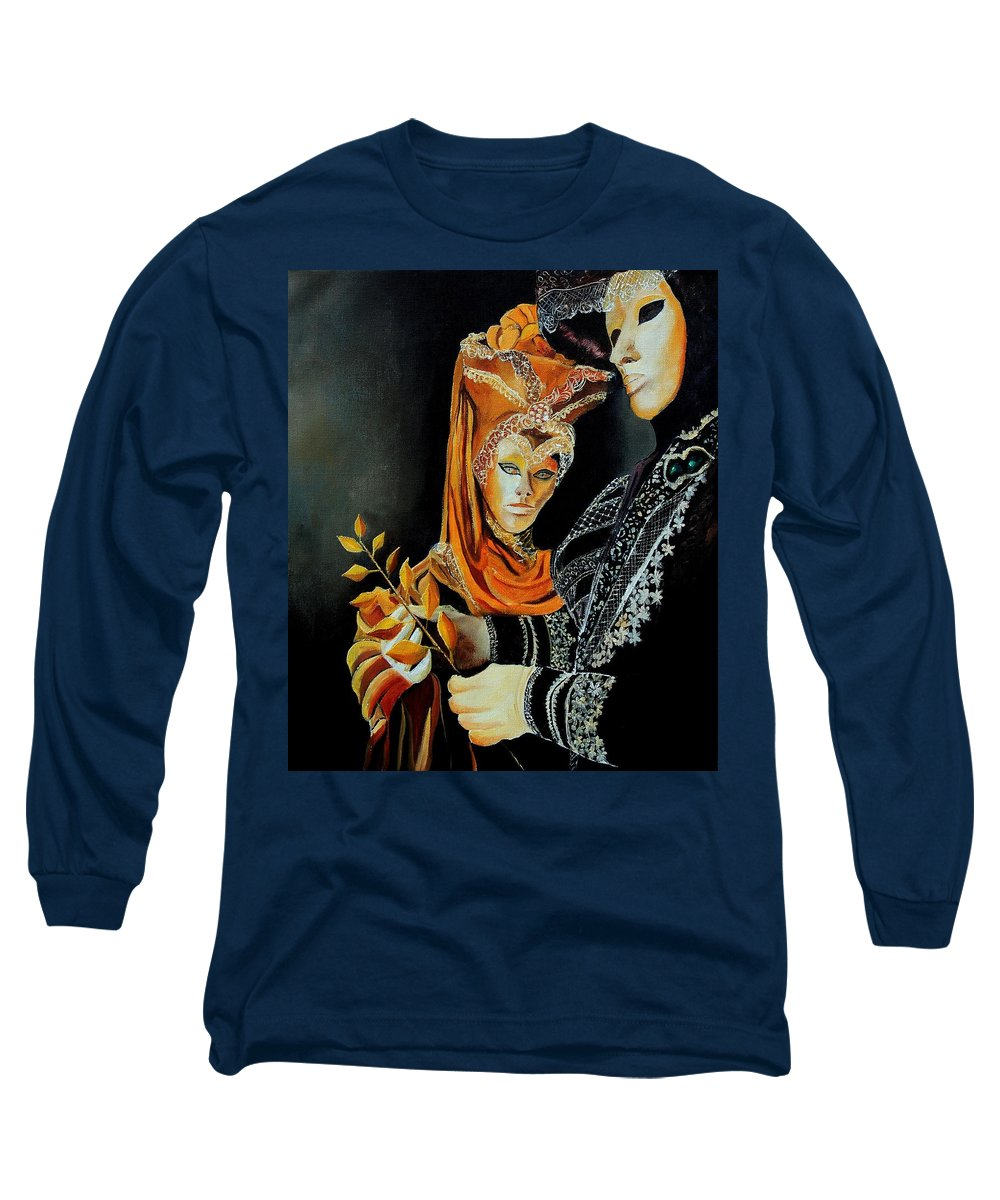 Mask Venice Carnavail Italy Long Sleeve T-Shirt featuring the painting Two Masks In Venice by Pol Ledent