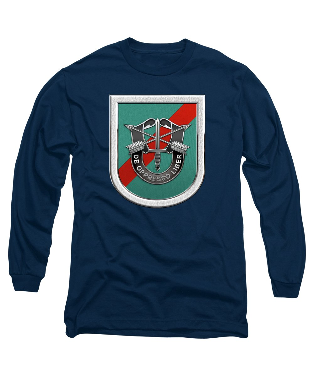 U  S  Army 20th Special Forces Group - 20 S F G Beret Flash Over Green  Beret Felt Long Sleeve T-Shirt