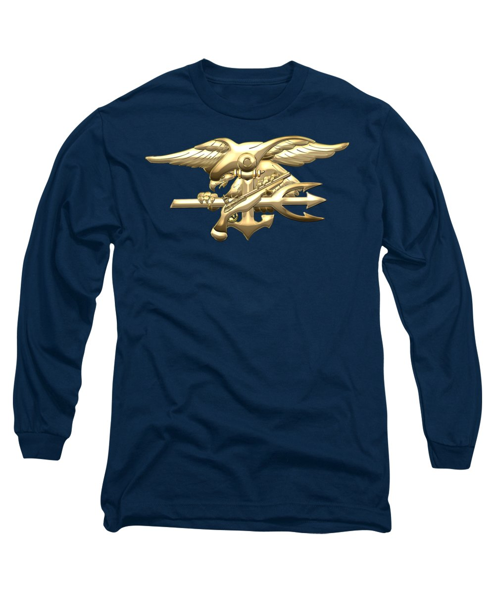 'military Insignia & Heraldry 3d' Collection By Serge Averbukh Long Sleeve T-Shirt featuring the digital art U. S. Navy S E A Ls Emblem On Blue Velvet by Serge Averbukh