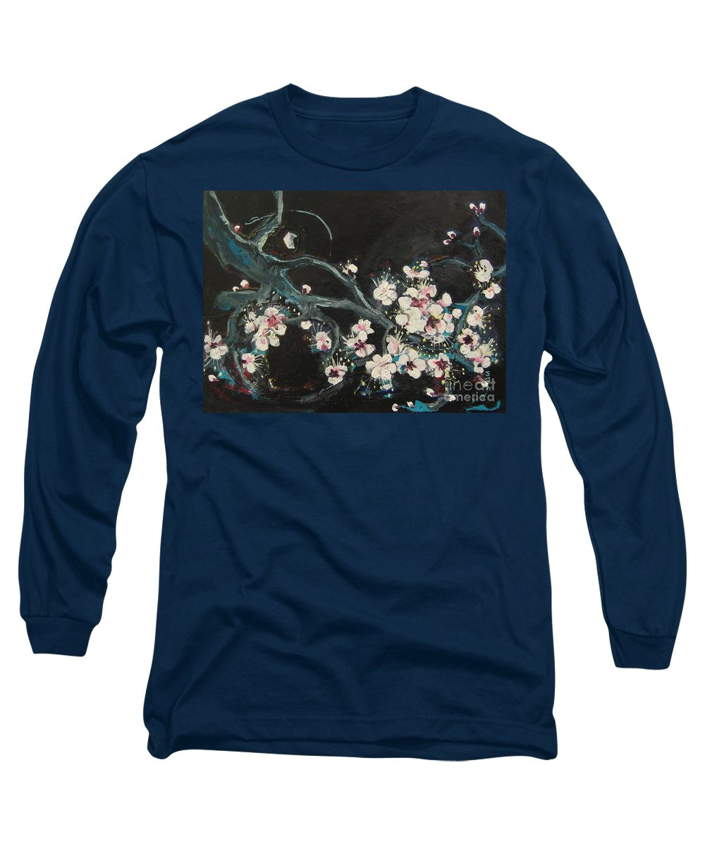 Ume Blossoms Paintings Long Sleeve T-Shirt featuring the painting Ume Blossoms2 by Seon-Jeong Kim