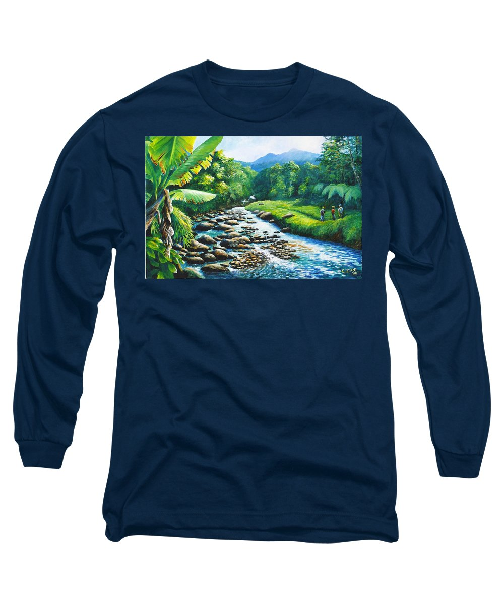 Chris Cox Long Sleeve T-Shirt featuring the painting Upriver by Christopher Cox