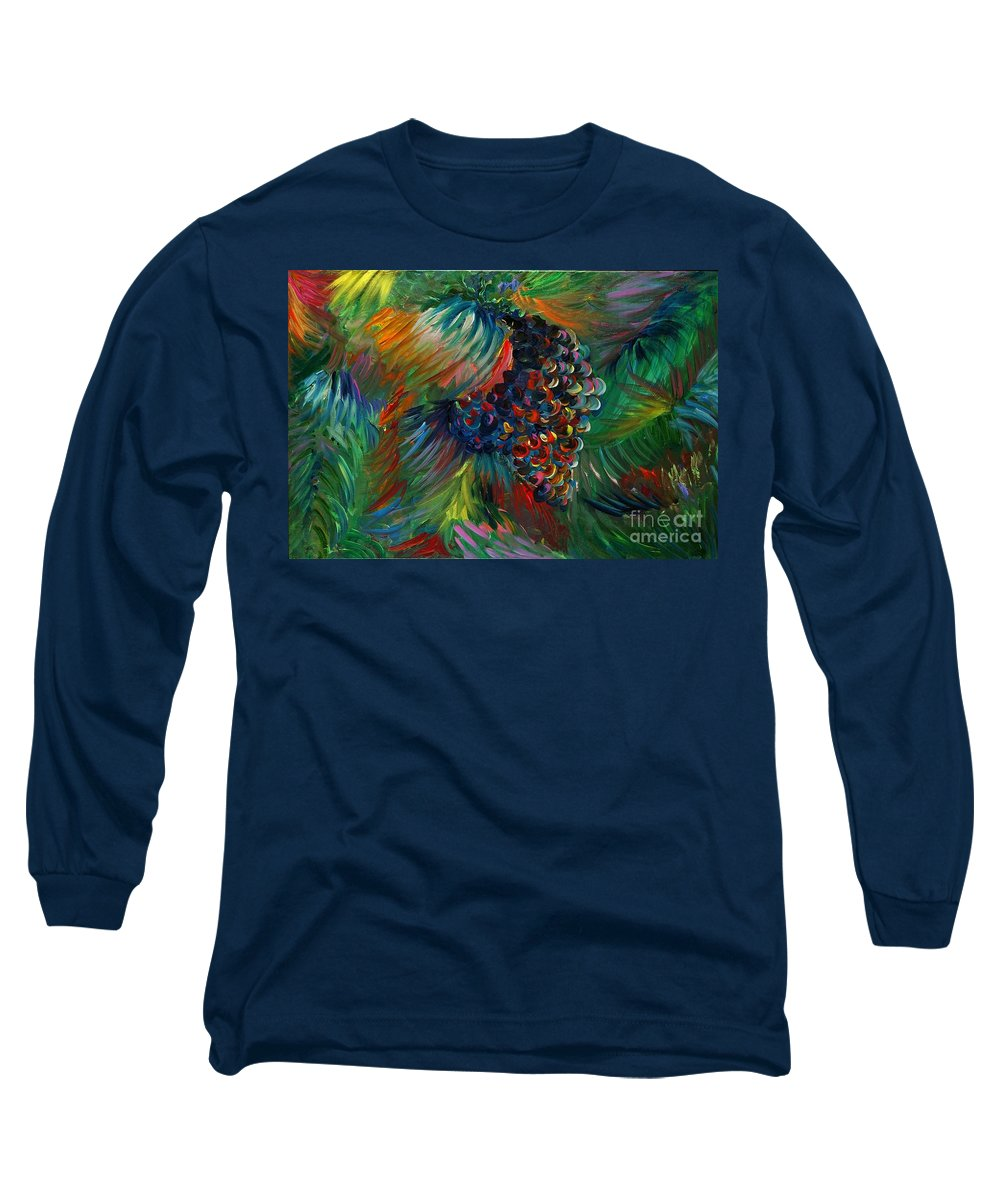 Grapes Long Sleeve T-Shirt featuring the painting Vibrant Grapes by Nadine Rippelmeyer