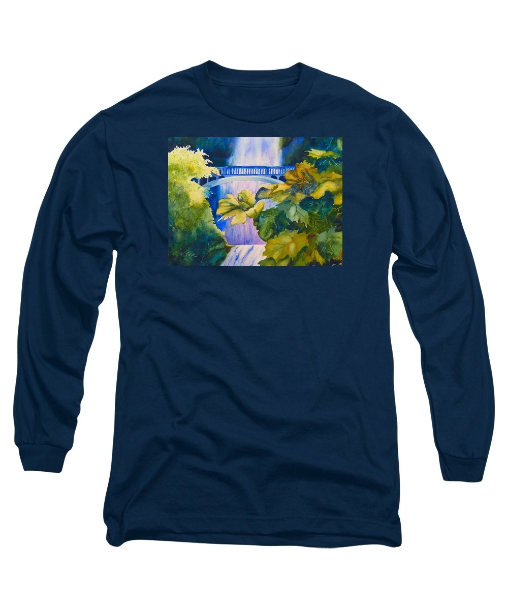 Waterfall Long Sleeve T-Shirt featuring the painting View Of The Bridge by Karen Stark