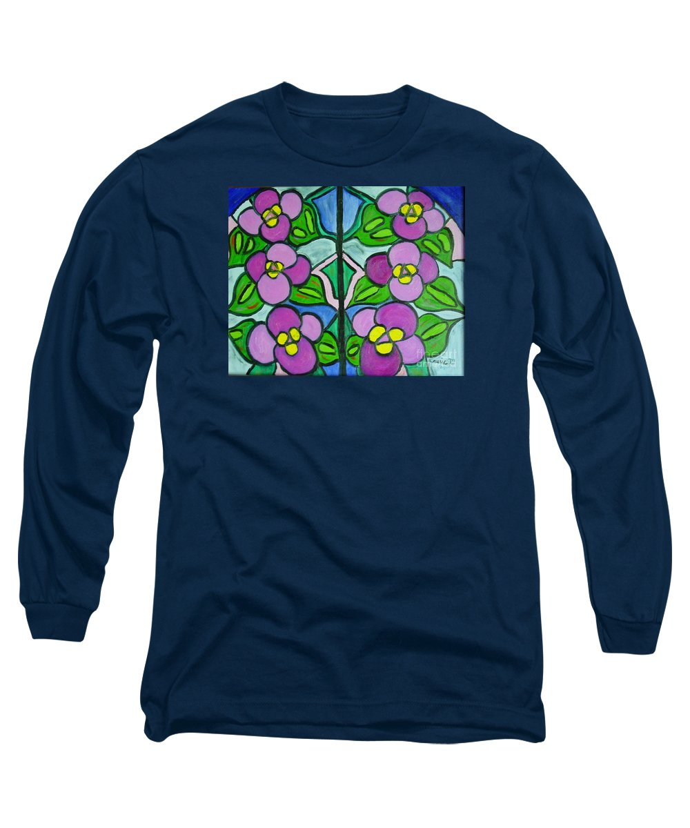 Violets Long Sleeve T-Shirt featuring the painting Vintage Violets by Laurie Morgan