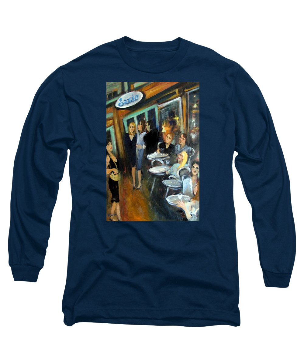 Sidewalk Cafe Long Sleeve T-Shirt featuring the painting Waiting For A Table by Valerie Vescovi