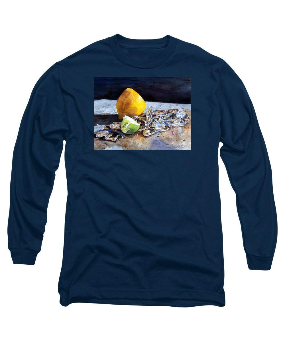 Lemon Long Sleeve T-Shirt featuring the painting Was... by Leyla Munteanu