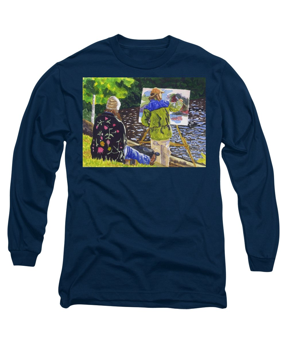 Artist Long Sleeve T-Shirt featuring the painting Watching The Maestro by Sharon E Allen
