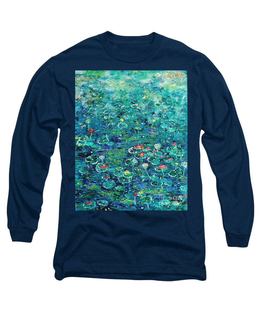 Water Lily Paintings Long Sleeve T-Shirt featuring the painting Water Lilies Lily Pad Lotus Water Lily Paintings by Seon-Jeong Kim