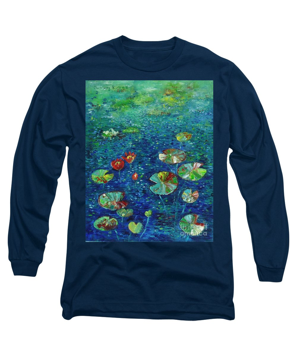 Lotus Paintings Long Sleeve T-Shirt featuring the painting Water Lily Lotus Lily Pads Paintings by Seon-Jeong Kim
