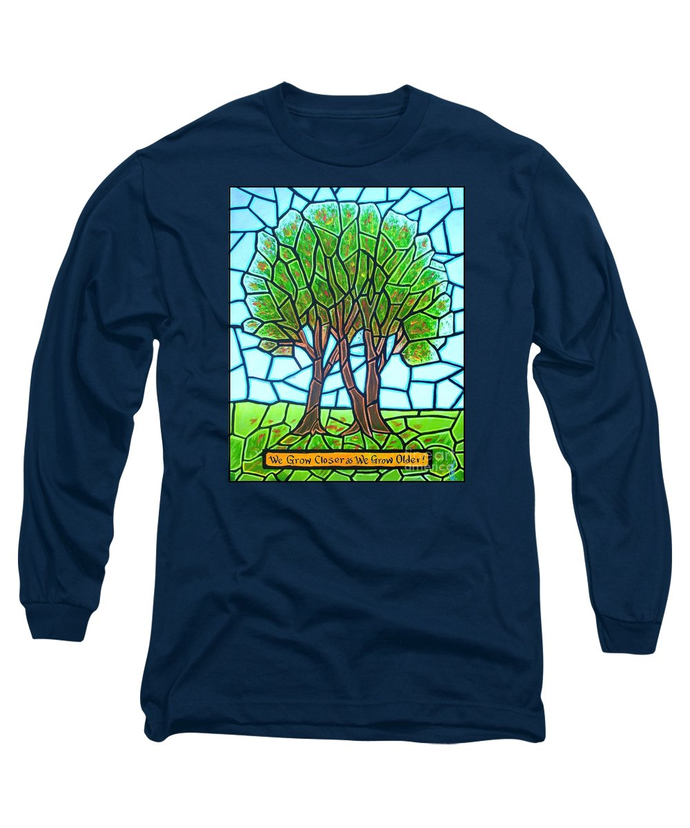 Aging Long Sleeve T-Shirt featuring the painting We Grow Closer As We Grow Older by Jim Harris