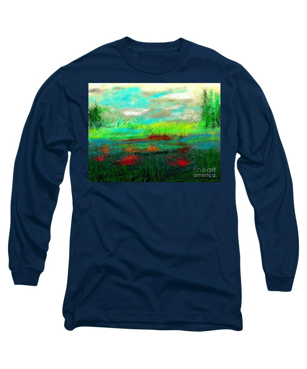 Nature Long Sleeve T-Shirt featuring the digital art Wetlands by David Lane