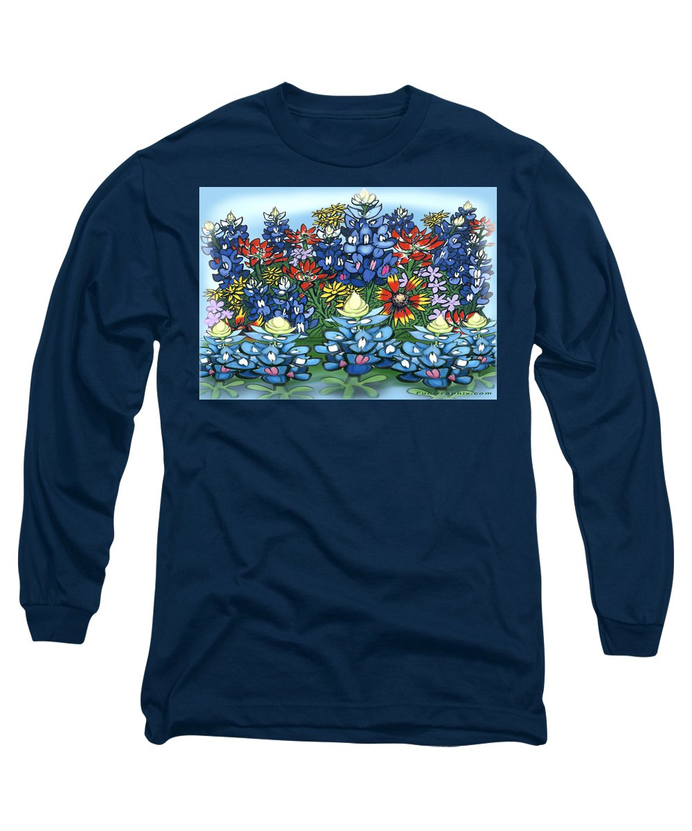 Wildflowers Long Sleeve T-Shirt featuring the digital art Wildflowers by Kevin Middleton