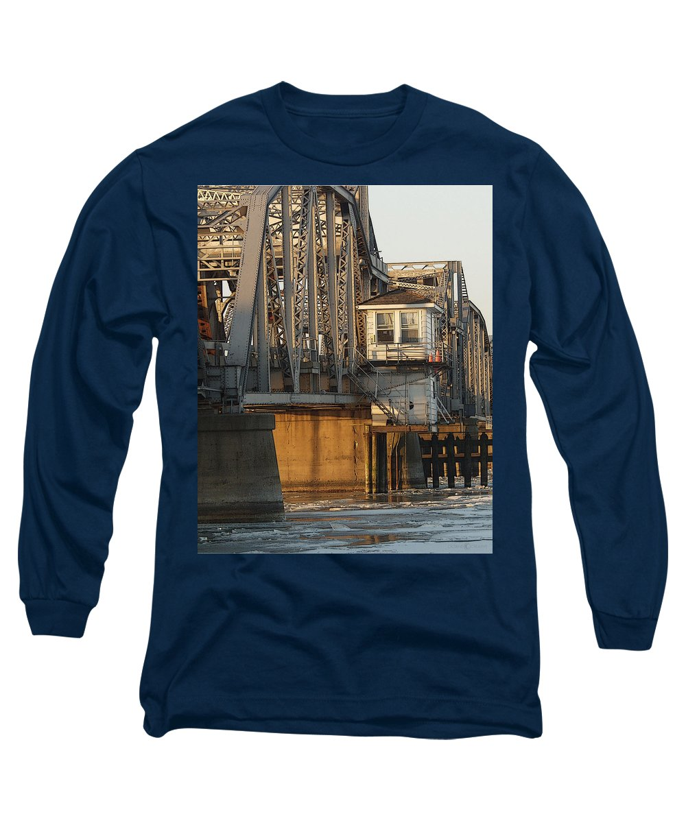 Bridge Long Sleeve T-Shirt featuring the photograph Winter Bridgehouse by Tim Nyberg