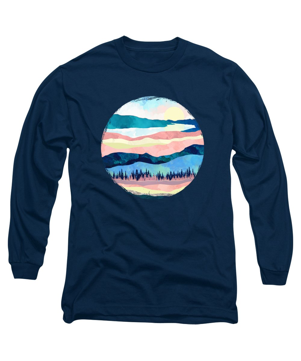 Winter Long Sleeve T-Shirt featuring the digital art Winter Sunset by Spacefrog Designs