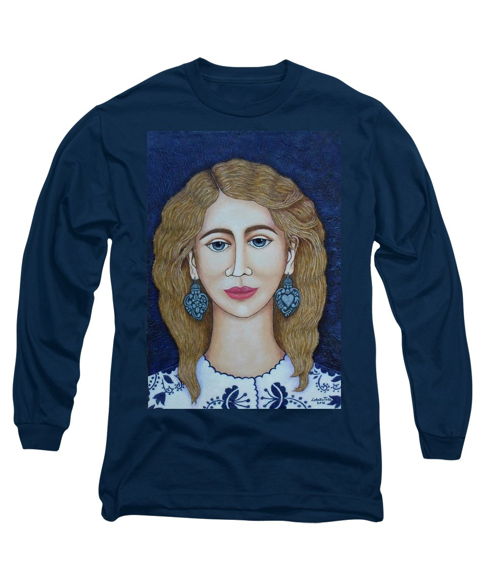 Woman Long Sleeve T-Shirt featuring the painting Woman With Silver Earrings by Madalena Lobao-Tello