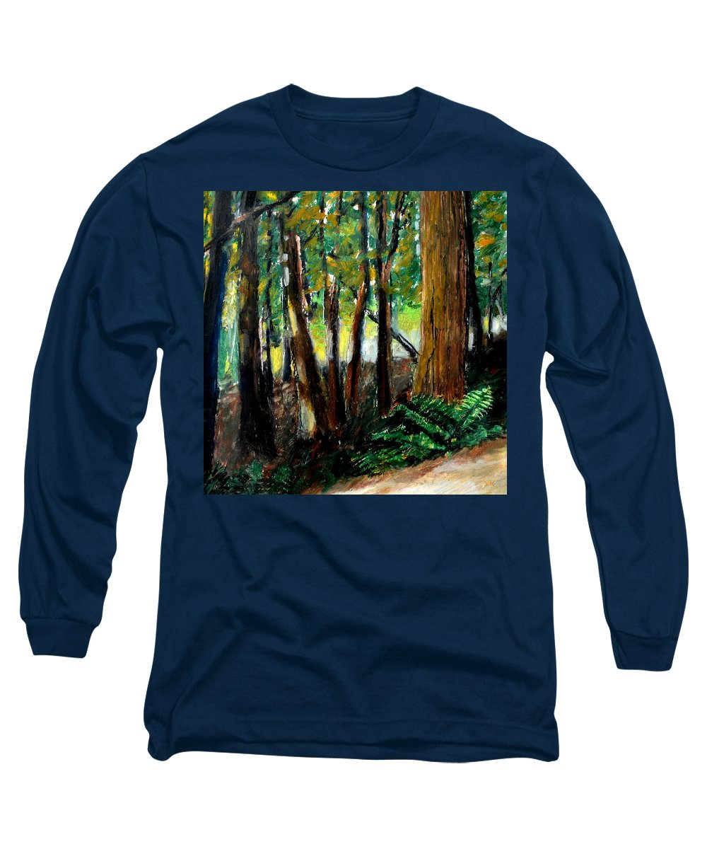 Livingston Trail Long Sleeve T-Shirt featuring the drawing Woodland Trail by Michelle Calkins