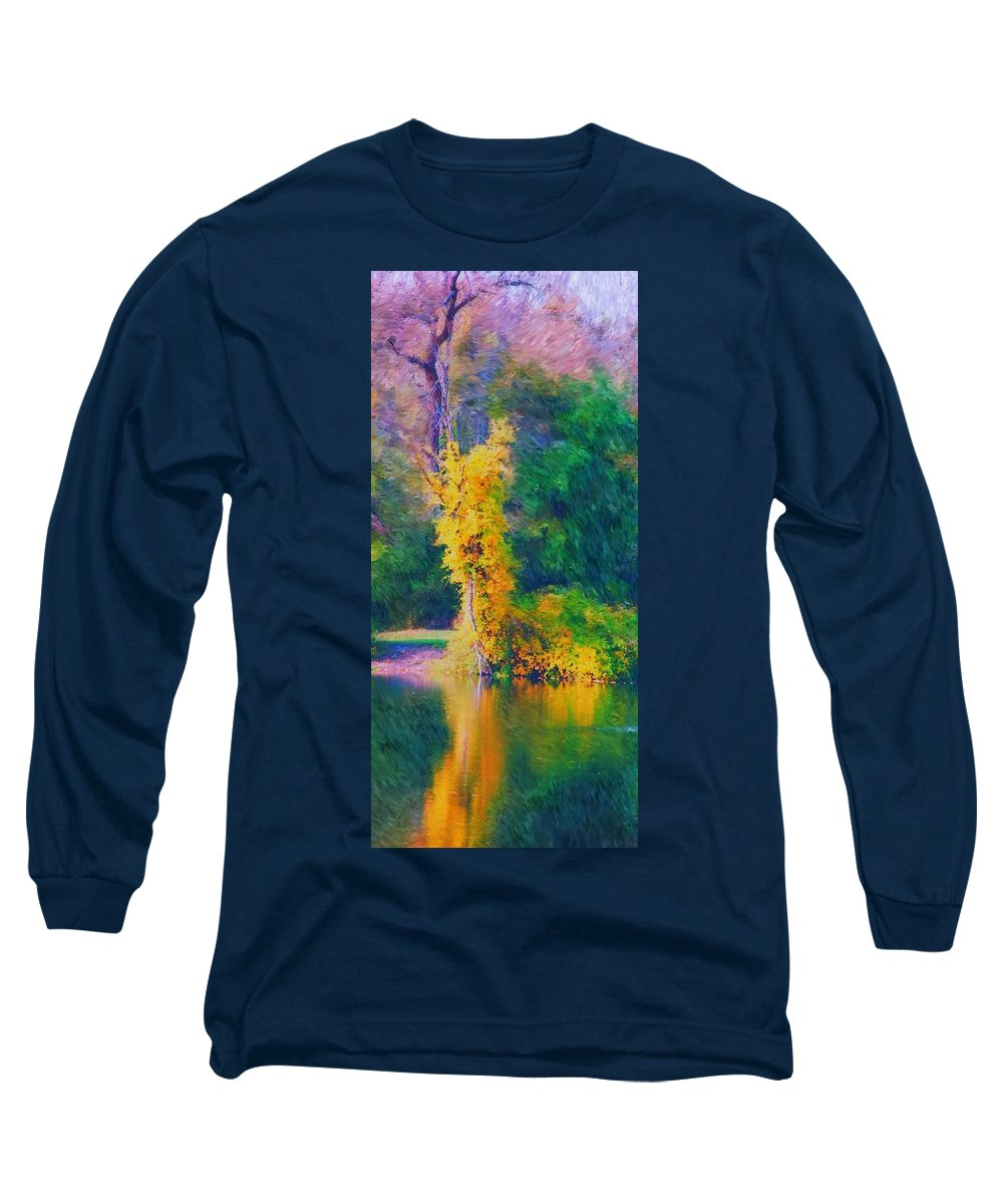 Digital Landscape Long Sleeve T-Shirt featuring the digital art Yellow Reflections by David Lane