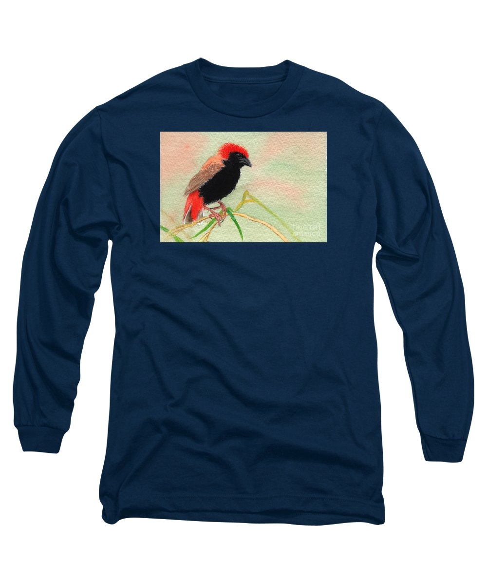 Bird Long Sleeve T-Shirt featuring the painting Zanzibar Red Bishop by Lynn Quinn