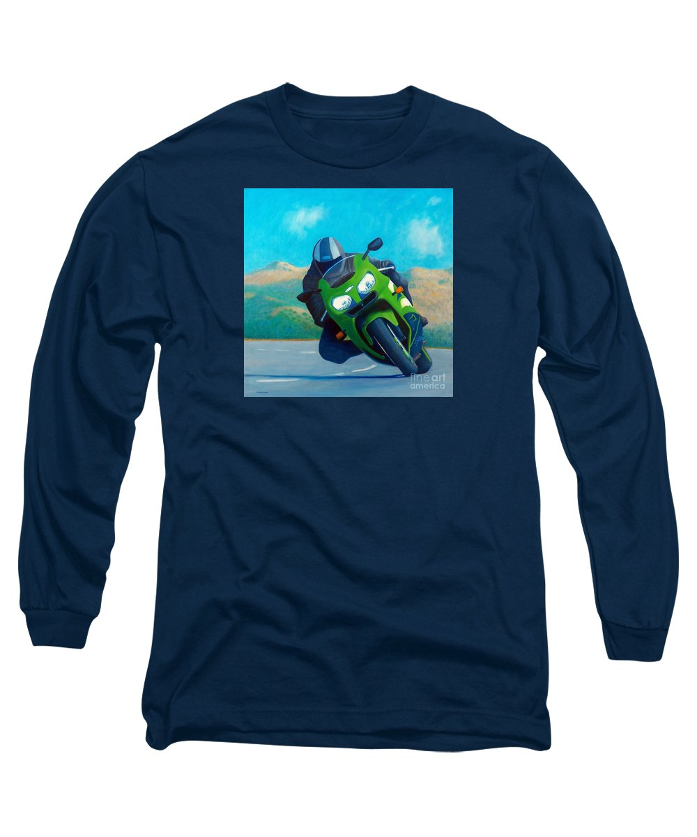 Motorcycle Long Sleeve T-Shirt featuring the painting Zx9 - California Dreaming by Brian Commerford