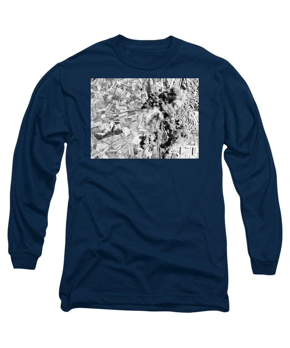 Air Raid Long Sleeve T-Shirt featuring the photograph Allied Aerial Bombardment - Ww2 Italy - 1943 by War Is Hell Store