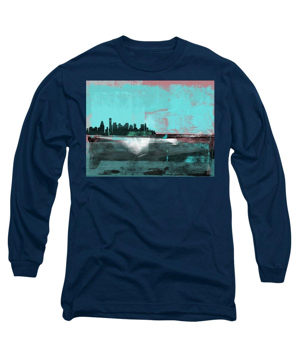 Boston Skyline Mixed Media Long Sleeve T-Shirts