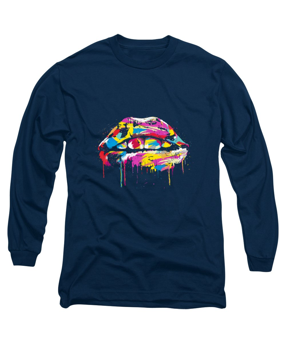 Lips Long Sleeve T-Shirt featuring the painting Colorful Lips by Balazs Solti