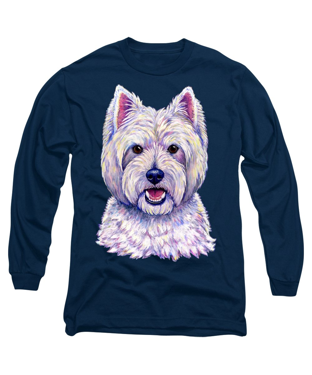 West Highland White Terrier Long Sleeve T-Shirt featuring the painting Colorful West Highland White Terrier Dog by Rebecca Wang