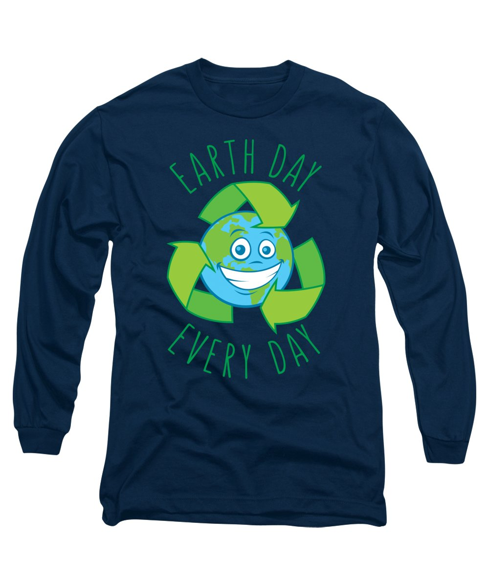 Green Long Sleeve T-Shirt featuring the digital art Earth Day Every Day Recycle Cartoon by John Schwegel