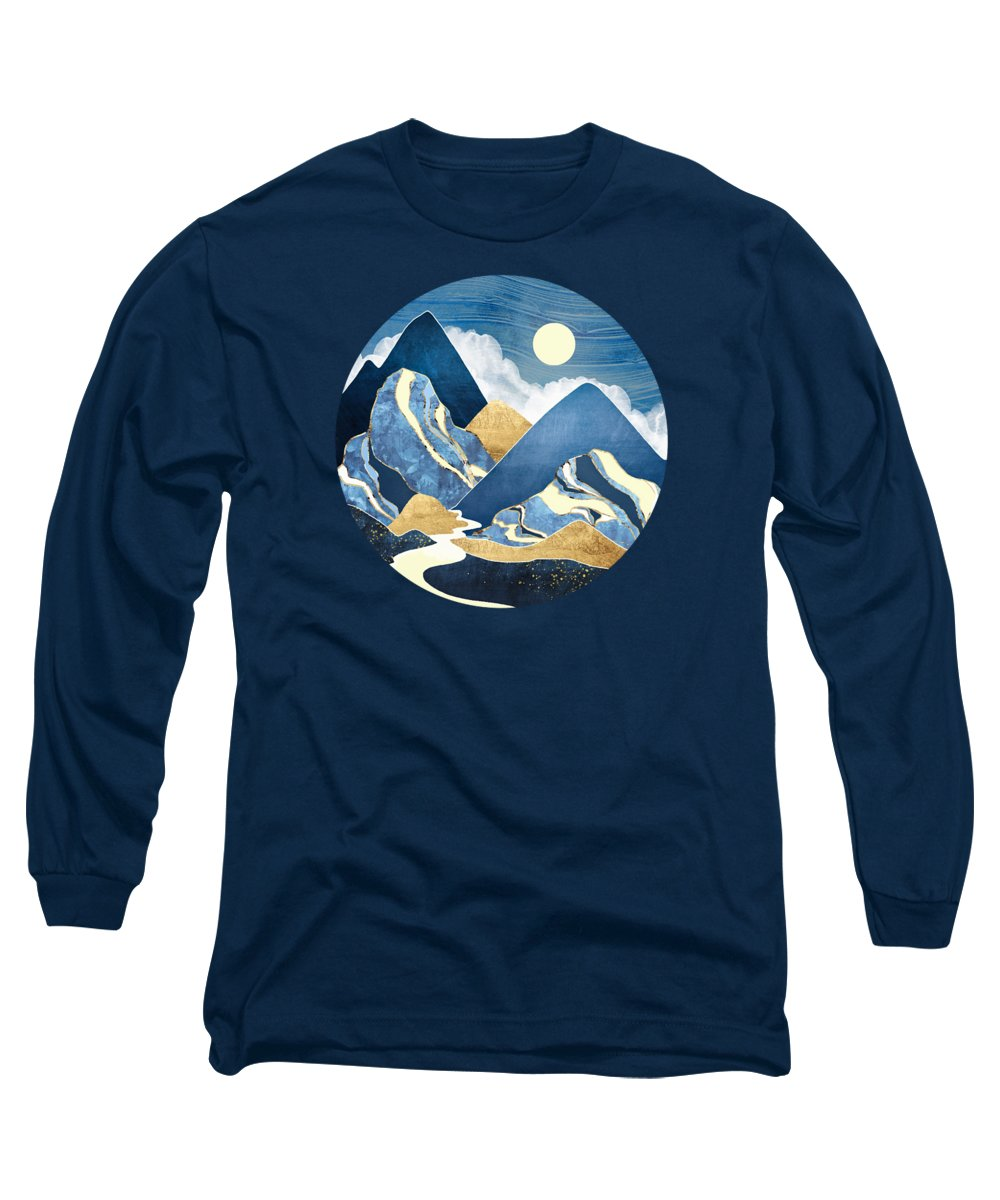River Long Sleeve T-Shirt featuring the digital art Moon River by Spacefrog Designs
