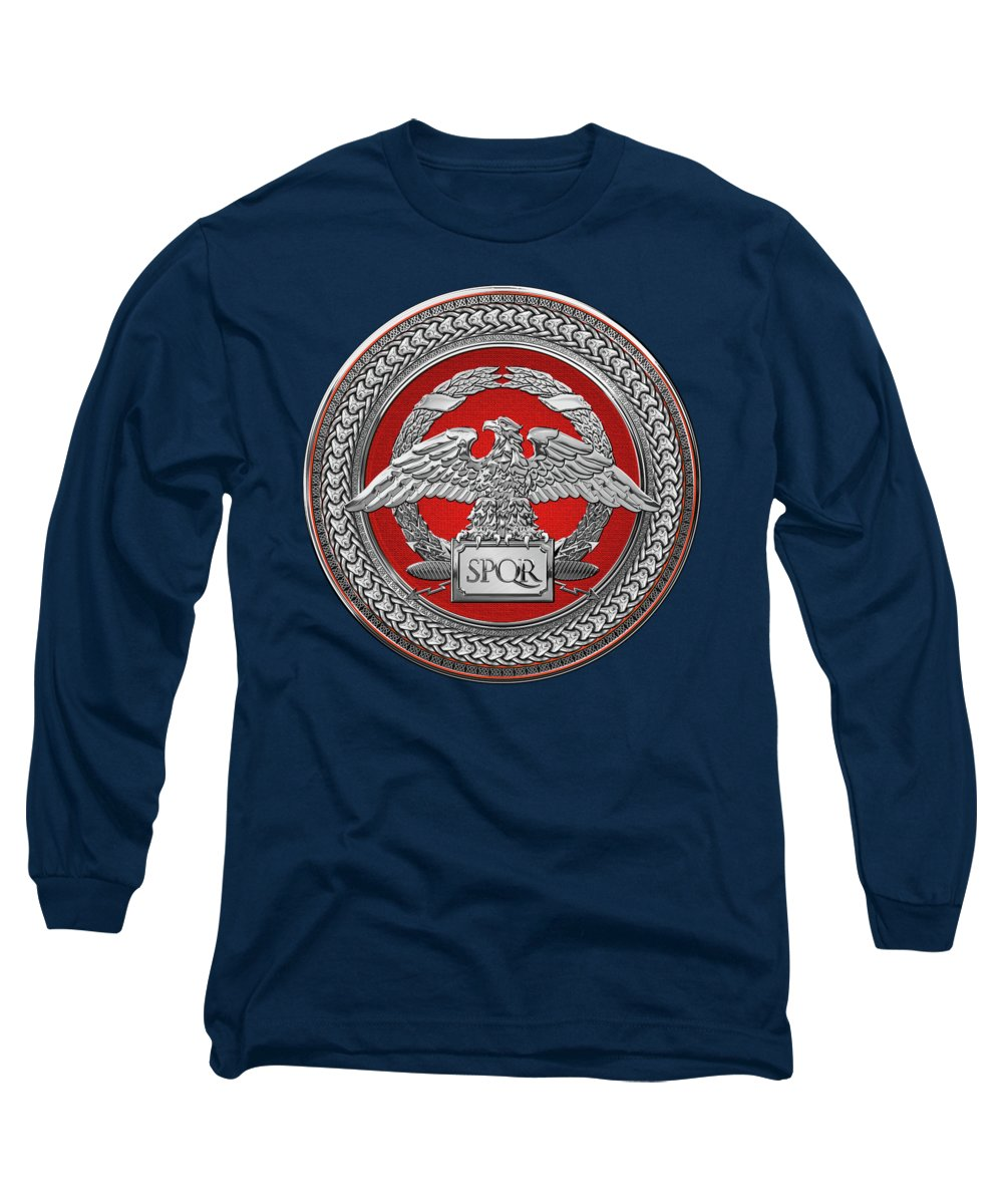 'treasures Of Rome' Collection By Serge Averbukh Long Sleeve T-Shirt featuring the digital art Silver Roman Imperial Eagle Over Red And Silver Medallion On Blue Leather by Serge Averbukh