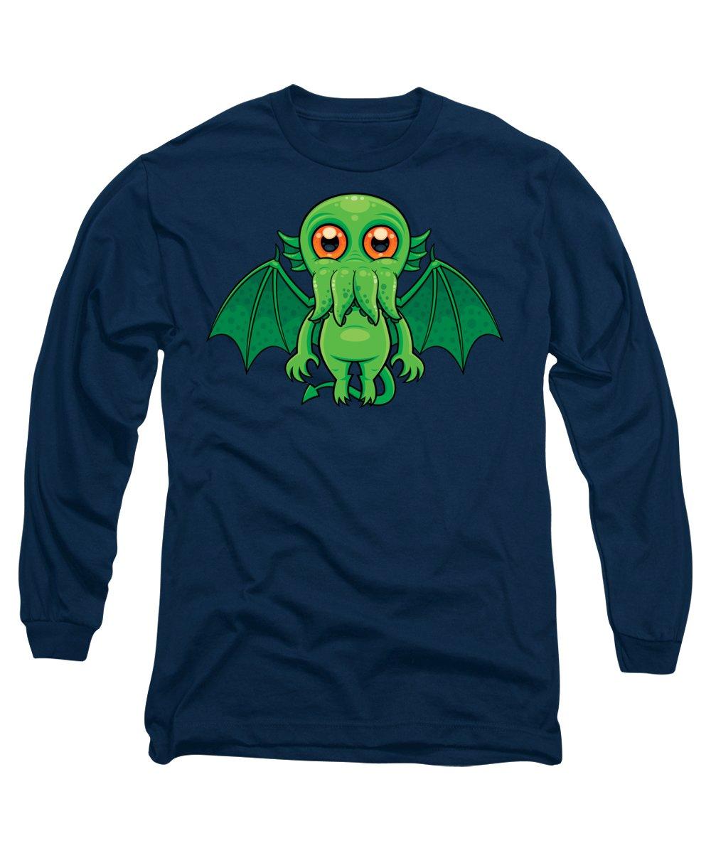 Cthulhu Long Sleeve T-Shirt featuring the digital art Cute Green Cthulhu Monster by John Schwegel