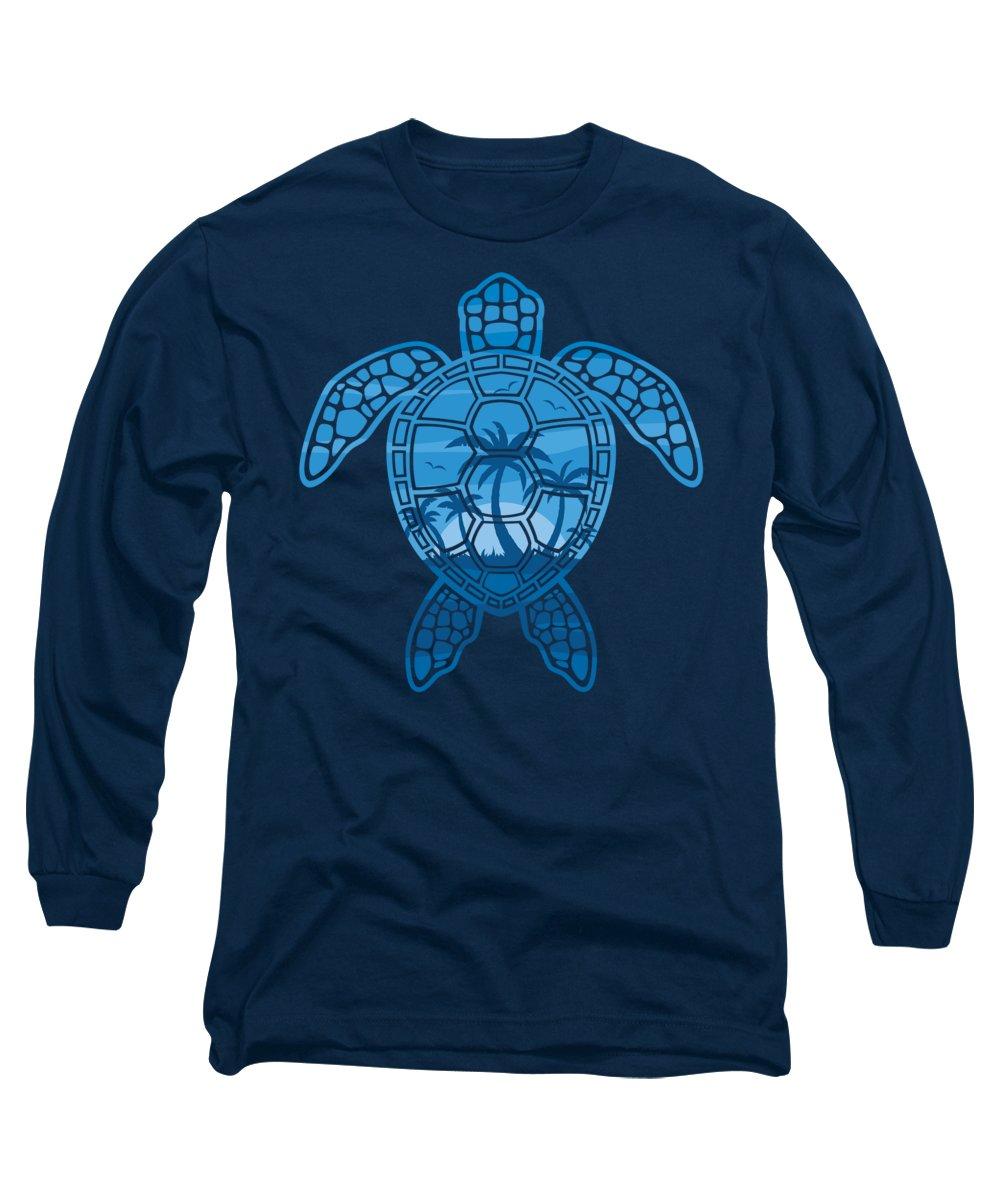 Blue Long Sleeve T-Shirt featuring the digital art Tropical Island Sea Turtle Design in Blue by John Schwegel