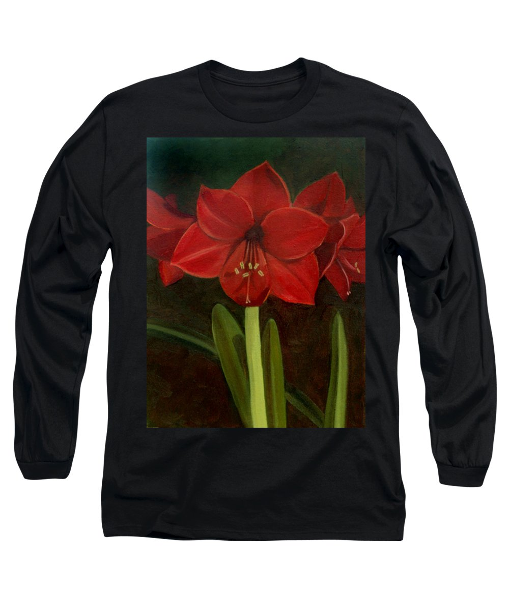 Amaryllis Long Sleeve T-Shirt featuring the painting Amaryllis by Nancy Griswold