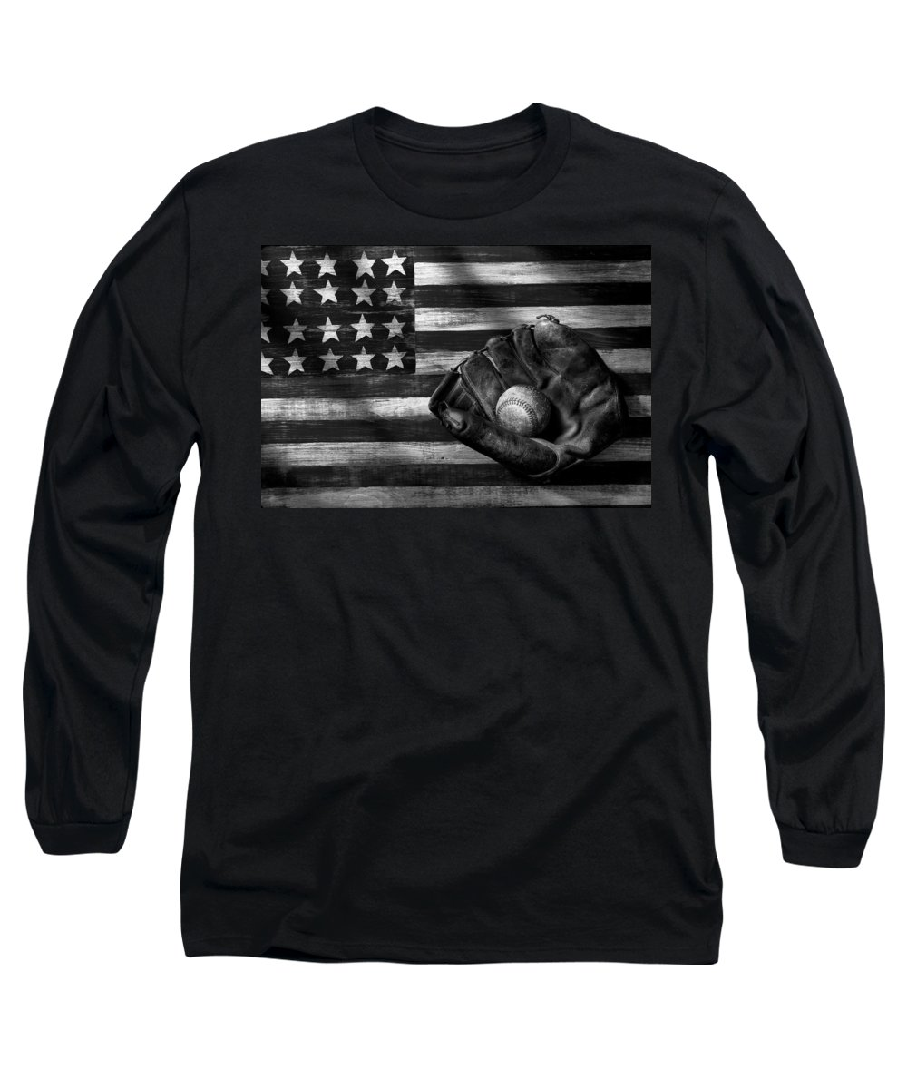Folk Art American Flag Long Sleeve T-Shirt featuring the photograph Folk Art American Flag And Baseball Mitt Black And White by Garry Gay