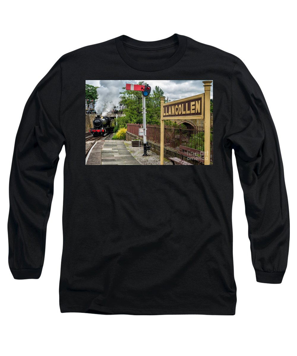 Steam Locomotive Long Sleeve T-Shirt featuring the photograph Llangollen Railway Station by Adrian Evans