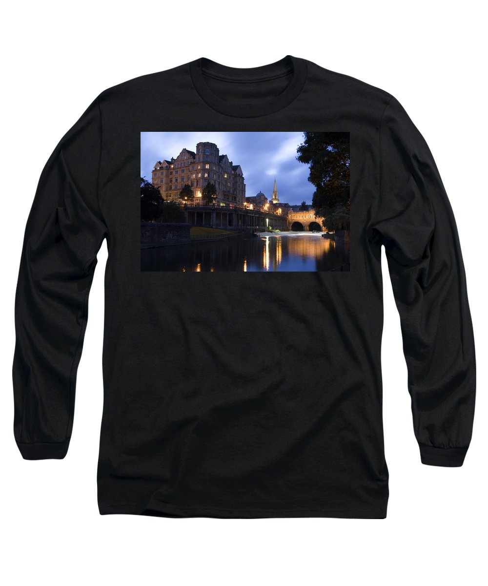 Bath Long Sleeve T-Shirt featuring the photograph Bath City Spa Viewed Over The River Avon At Night by Mal Bray
