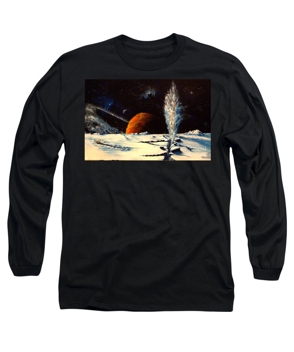 Landscape. Geyser Long Sleeve T-Shirt featuring the painting Frozen Geyser by Murphy Elliott