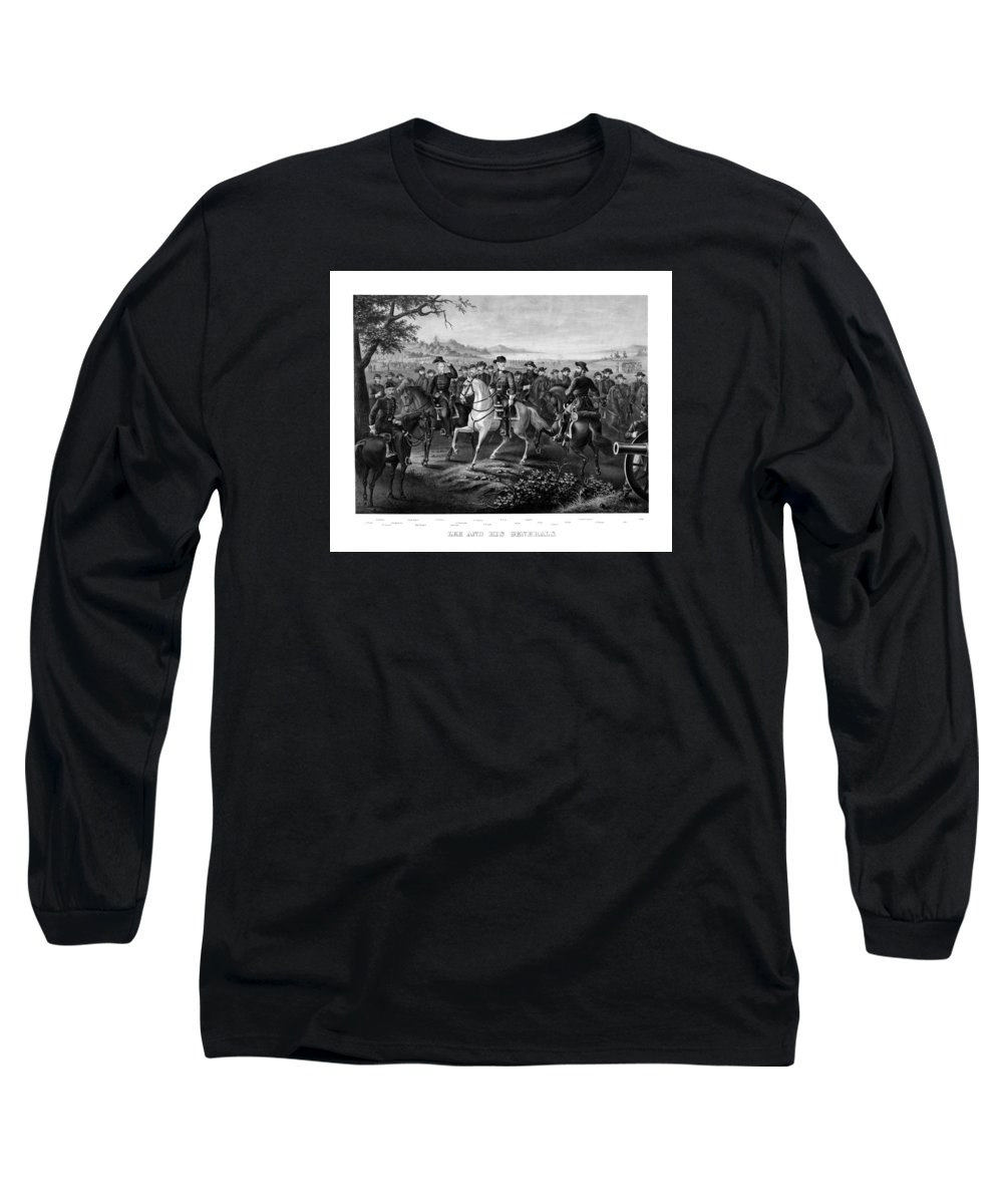 Robert E Lee Long Sleeve T-Shirt featuring the painting Lee And His Generals by War Is Hell Store