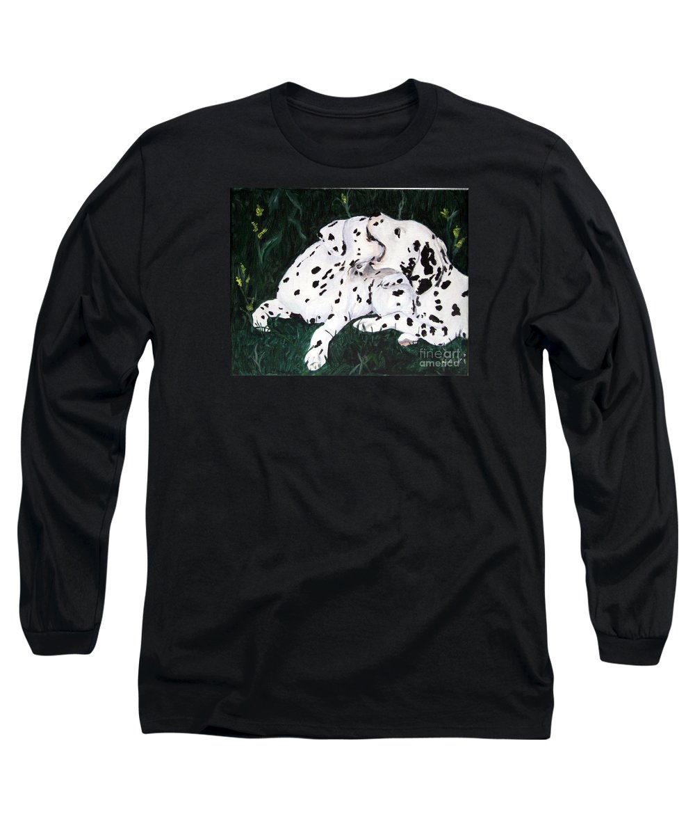 Dogs Long Sleeve T-Shirt featuring the painting Playful Pups by Jacki McGovern