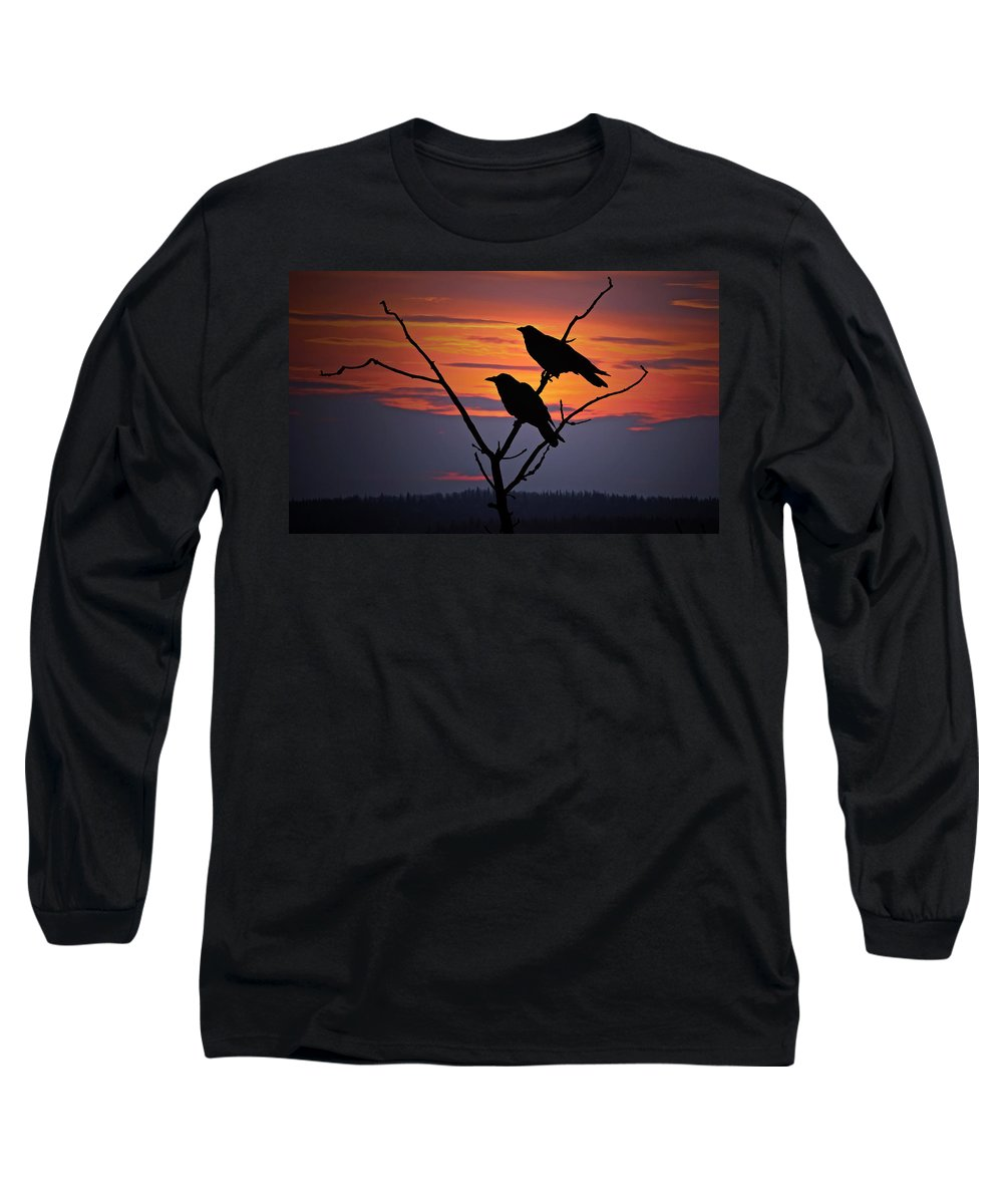 Raven Long Sleeve T-Shirt featuring the photograph 2 Ravens by Ron Day