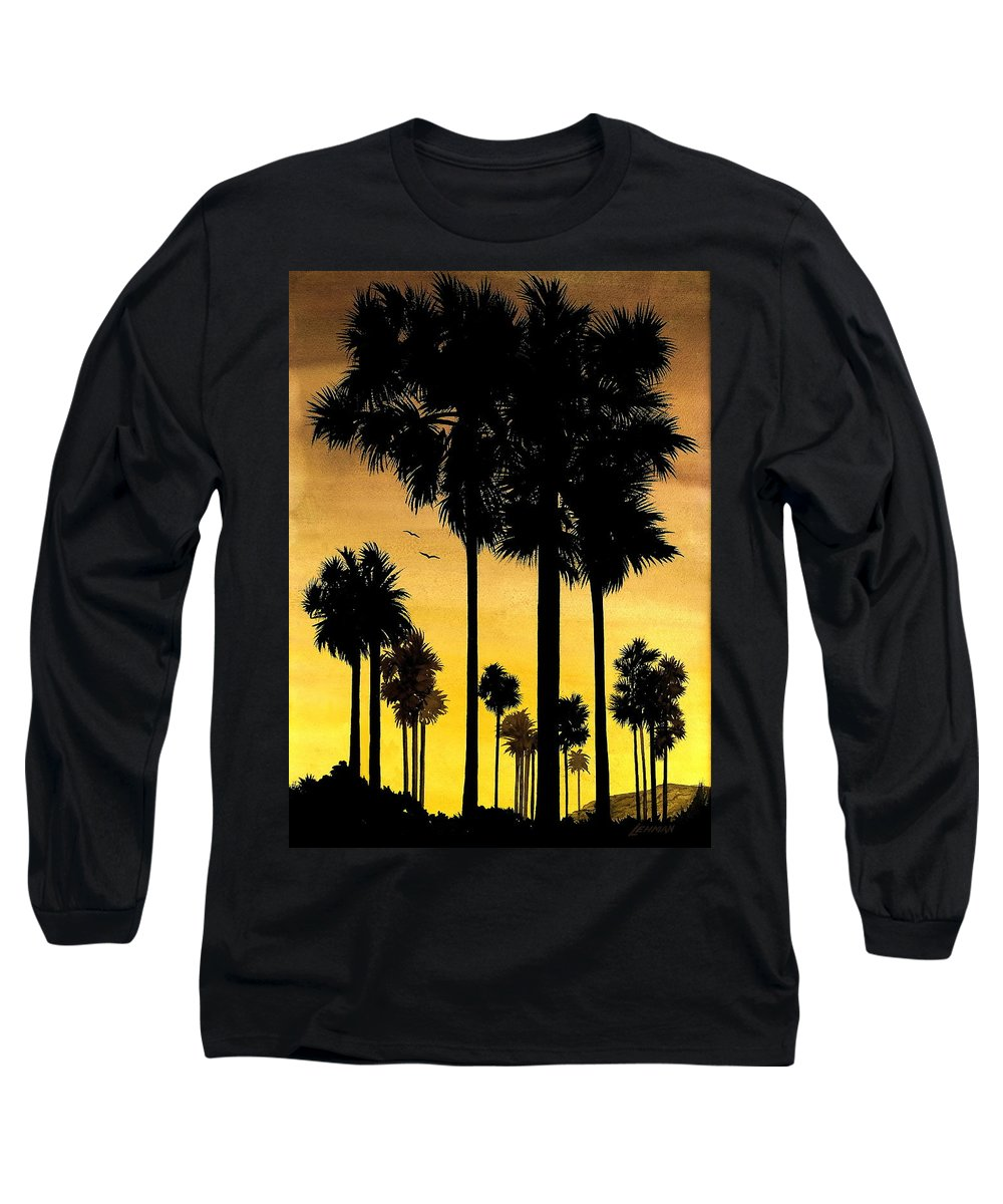 San Diego Sunset Long Sleeve T-Shirt featuring the painting San Diego Sunset by Larry Lehman
