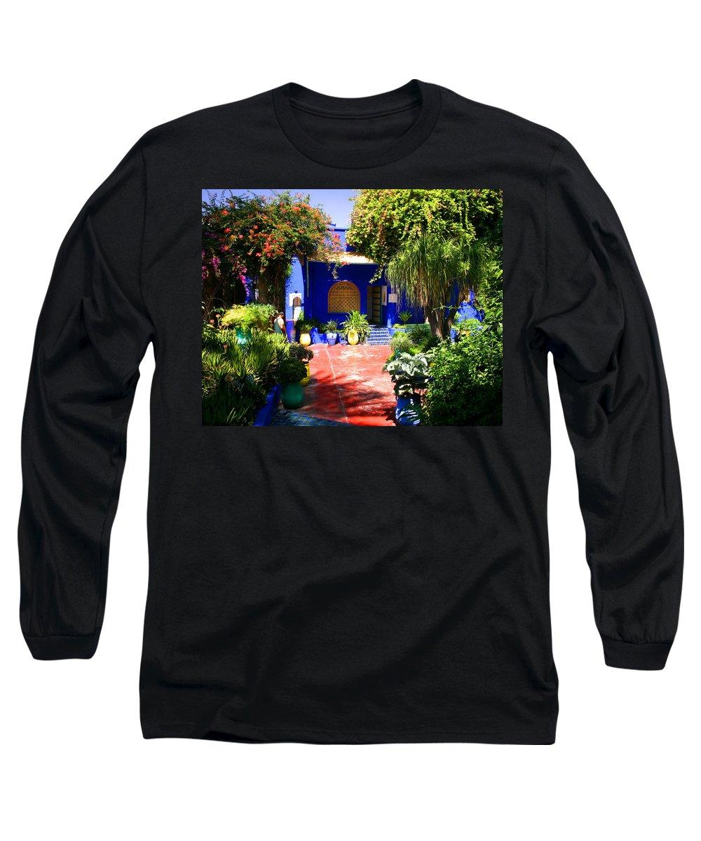 Majorelle Garden Long Sleeve T-Shirt featuring the photograph Majorelle Garden Marrakesh Morocco by Ralph A Ledergerber-Photography