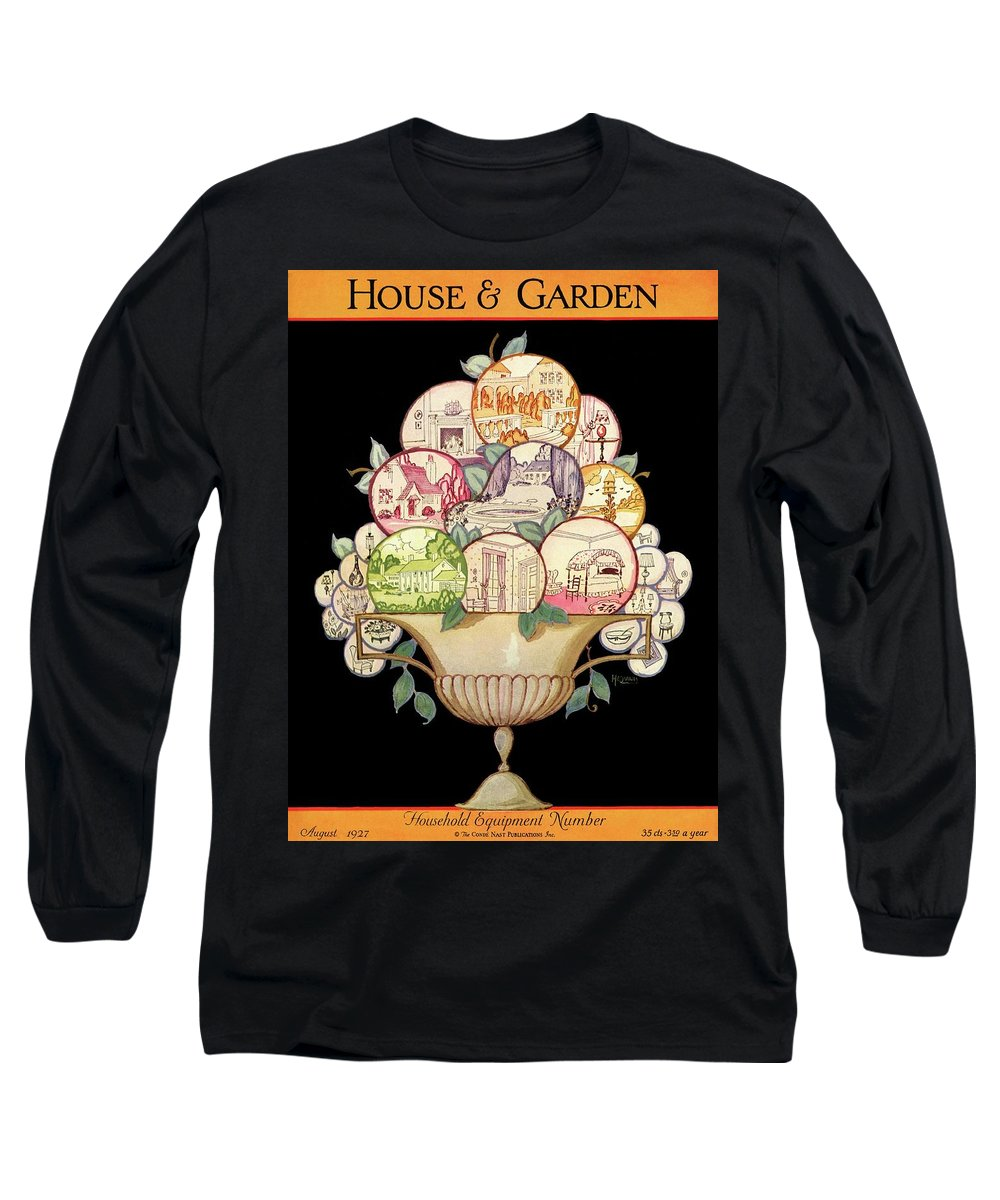 Illustration Long Sleeve T-Shirt featuring the photograph A House And Garden Cover Of A Fruit Bowl by Robert McQuinn