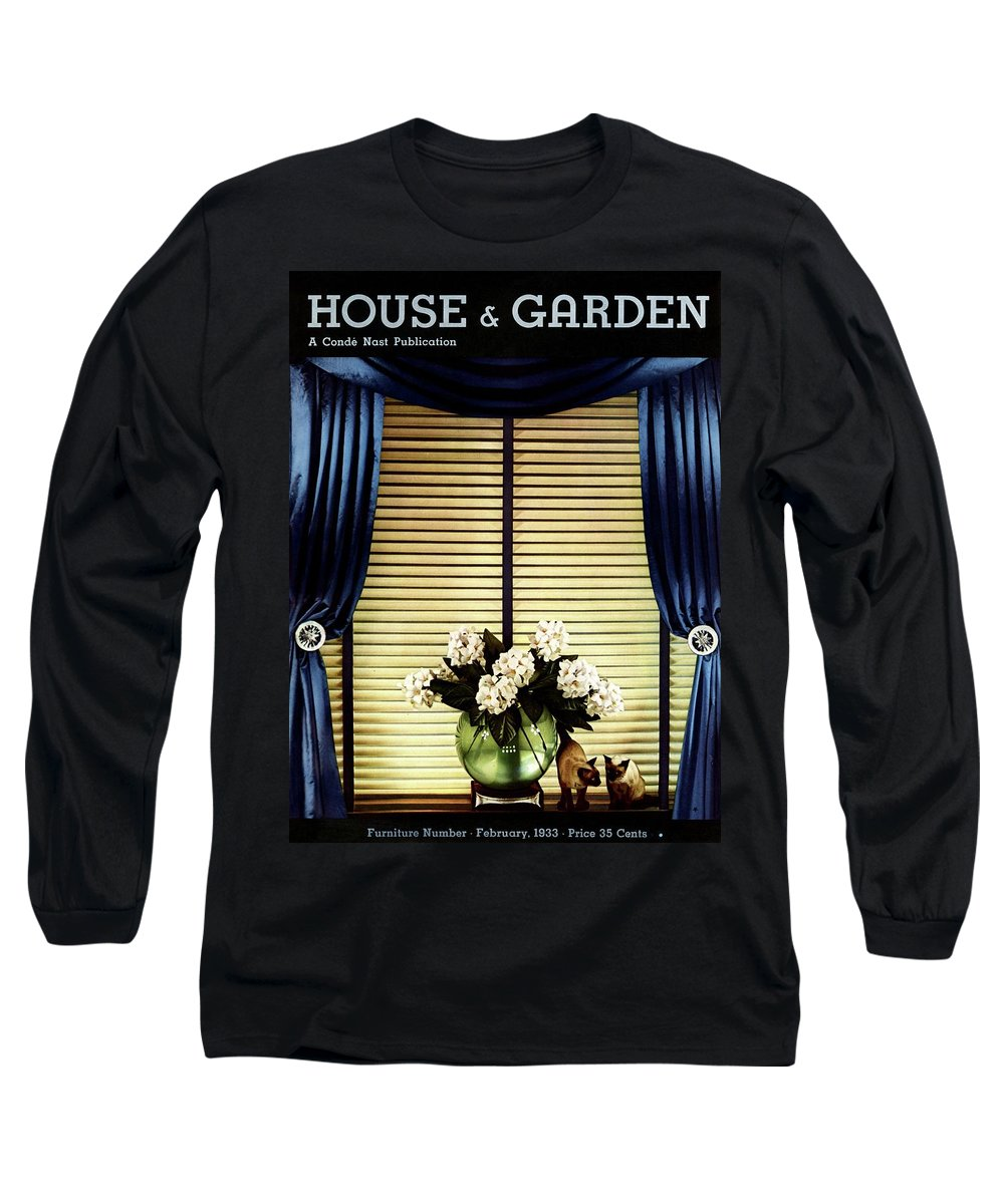 Illustration Long Sleeve T-Shirt featuring the photograph A House And Garden Cover Of Flowers By A Window by Anton Bruehl