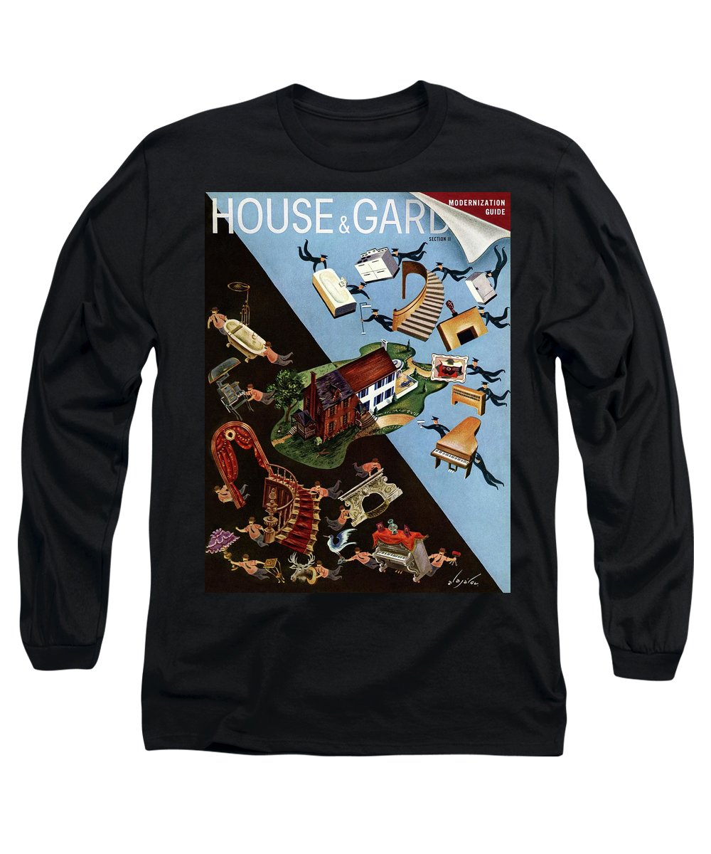 Illustration Long Sleeve T-Shirt featuring the photograph A House And Garden Cover Of People Moving House by Constantin Alajalov