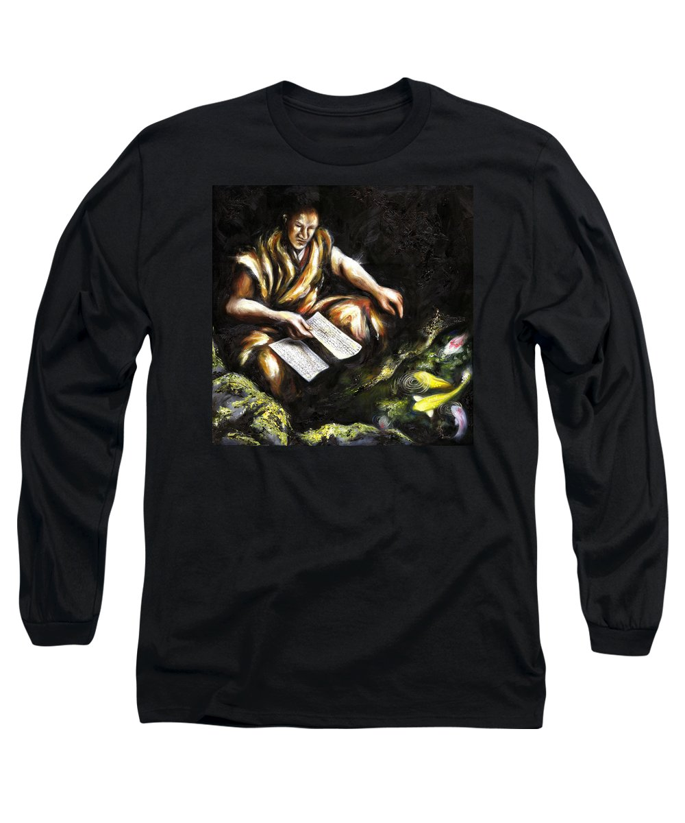 Japanesque Long Sleeve T-Shirt featuring the painting A Letter by Hiroko Sakai