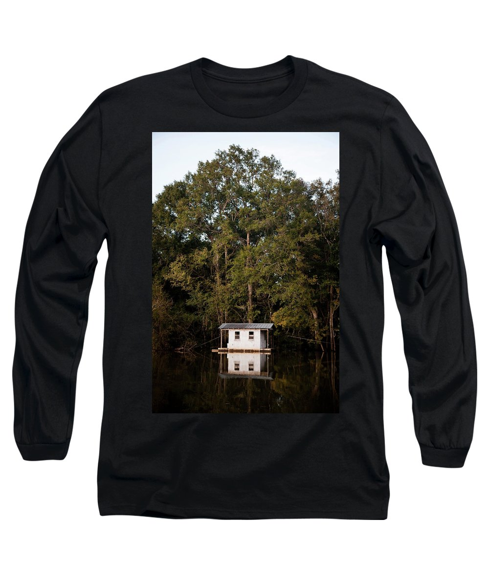 Day Long Sleeve T-Shirt featuring the photograph A Wooden Houseboat With A Small Fishing by David Hanson